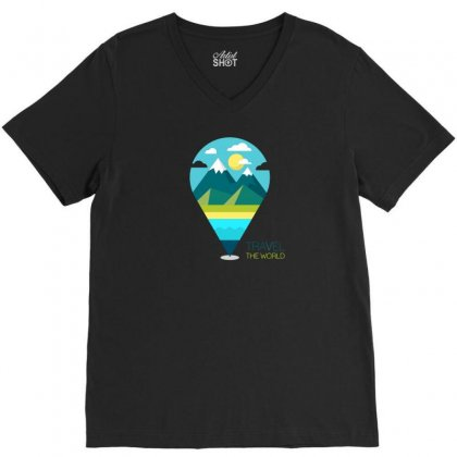 Travel Iii V-neck Tee Designed By Z3ni