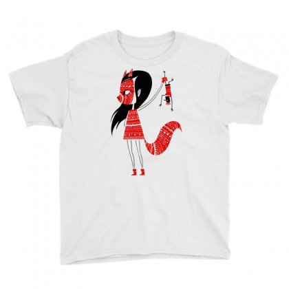 Fox Girl Art Youth Tee Designed By Planetshirts