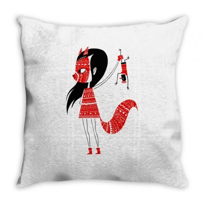Fox Girl Art Throw Pillow Designed By Planetshirts