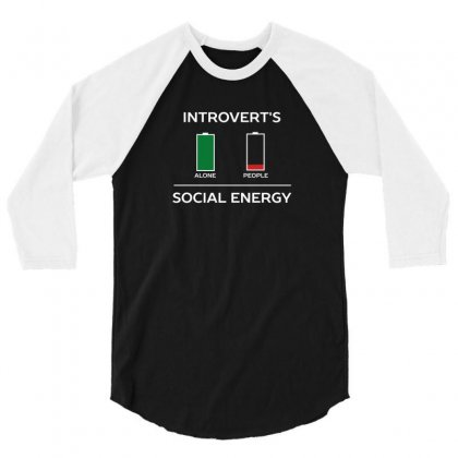 Energy Is Low Funny Introvert Humour 3/4 Sleeve Shirt Designed By Z3ni