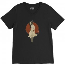 anime girl V-Neck Tee | Artistshot