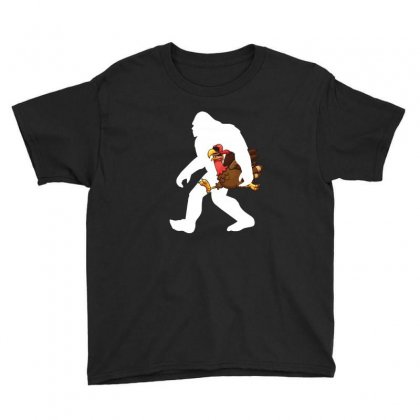 Bigfoot And Turkey Funny T Shirt Youth Tee Designed By Hung
