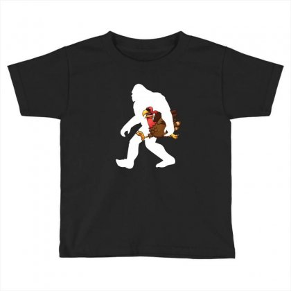 Bigfoot And Turkey Funny T Shirt Toddler T-shirt Designed By Hung