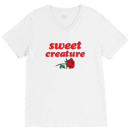 Sweet Creature Red V-neck Tee Designed By Sengul
