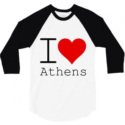 I Love Athens 3/4 Sleeve Shirt Designed By Perfect Designers