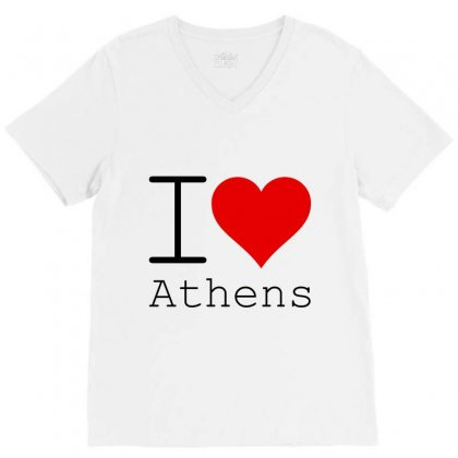 I Love Athens V-neck Tee Designed By Perfect Designers