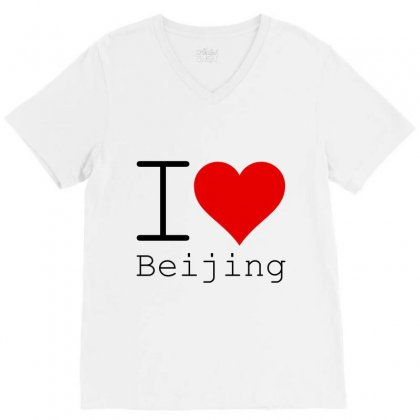 I Love Beijing V-neck Tee Designed By Perfect Designers
