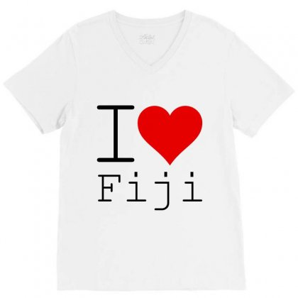 I Love Fiji V-neck Tee Designed By Perfect Designers