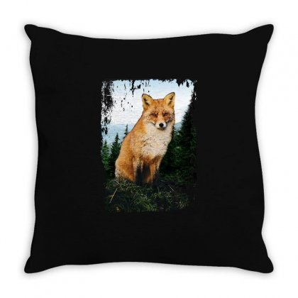 Pine Trees With Fox Throw Pillow Designed By Seda
