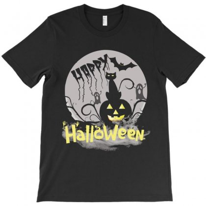 Happy Halloween Black Cat In Moon Funny T Shirt T-shirt Designed By Hung