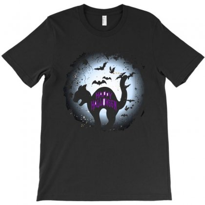 Happy Halloween Black Cat Funny T Shirt T-shirt Designed By Hung