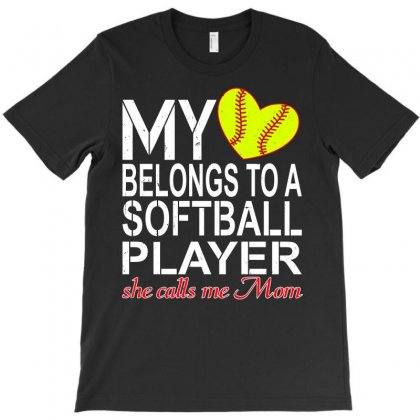 My Heart Belongs To A Softball Player T-shirt Designed By Leodrolic