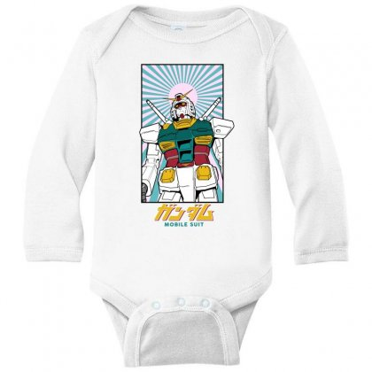 Gundam  Mobile Suit Long Sleeve Baby Bodysuit Designed By Paísdelasmáquinas