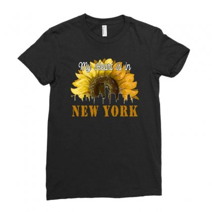My Heart Is In New York For Dark Ladies Fitted T-shirt Designed By Neset