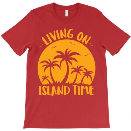 Living On Island Time Palm Trees And Sunset T-shirt Designed By Fizzgig