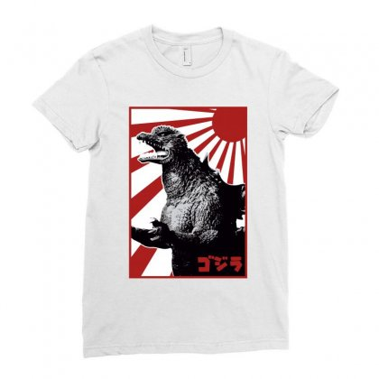 Godzilla 1 Ladies Fitted T-shirt Designed By Paísdelasmáquinas