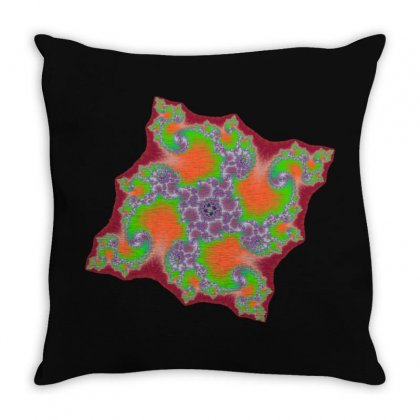 Square Fractal Spiral Throw Pillow Designed By Zykkwolf