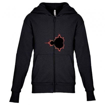 Mandelbrot Fractal Red And Black Youth Zipper Hoodie Designed By Zykkwolf