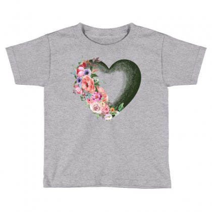 Heart With Flower Toddler T-shirt Designed By Ofutlu
