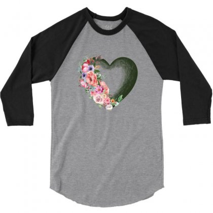 Heart With Flower 3/4 Sleeve Shirt Designed By Ofutlu