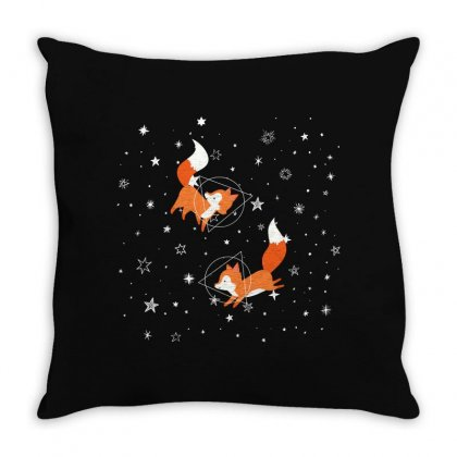 Foxes And Galaxy Throw Pillow Designed By Hasret