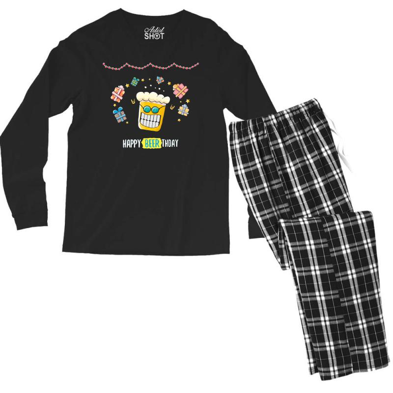 Happy Beer Thday Men's Long Sleeve Pajama Set | Artistshot