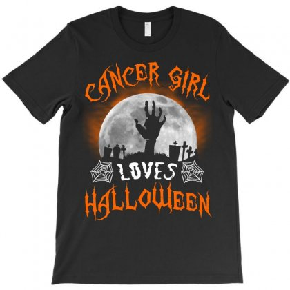 This Cancer Girl Loves Halloween T-shirt Designed By Twinklered.com