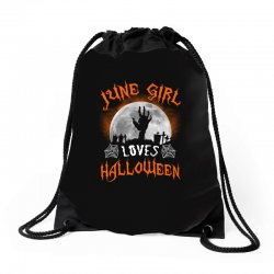 this june girl loves halloween Drawstring Bags | Artistshot