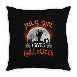 this july girl loves halloween Throw Pillow | Artistshot