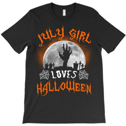 This July Girl Loves Halloween T-shirt Designed By Twinklered.com