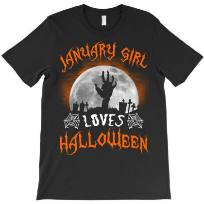 This January Girl Loves Halloween T-shirt Designed By Twinklered.com
