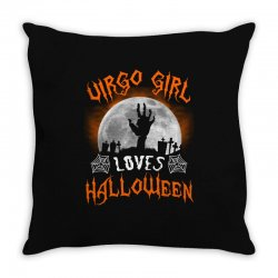 this virgo girl loves halloween Throw Pillow | Artistshot