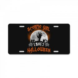 this scorpio girl loves halloween License Plate | Artistshot