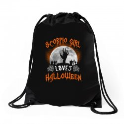 this scorpio girl loves halloween Drawstring Bags | Artistshot
