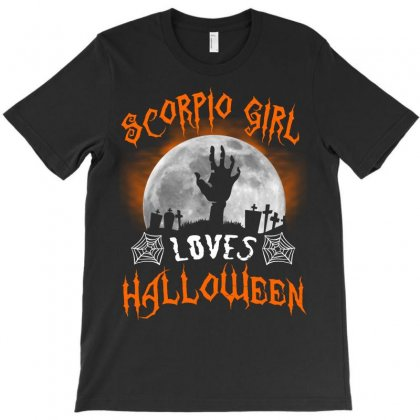 This Scorpio Girl Loves Halloween T-shirt Designed By Twinklered.com