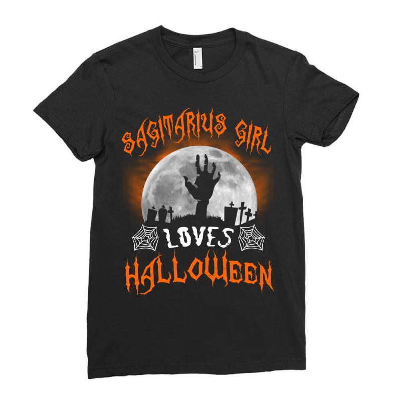 This Sagittarius Girl Loves Halloween Ladies Fitted T-shirt | Artistshot