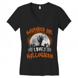 this sagittarius girl loves halloween Women's V-Neck T-Shirt | Artistshot