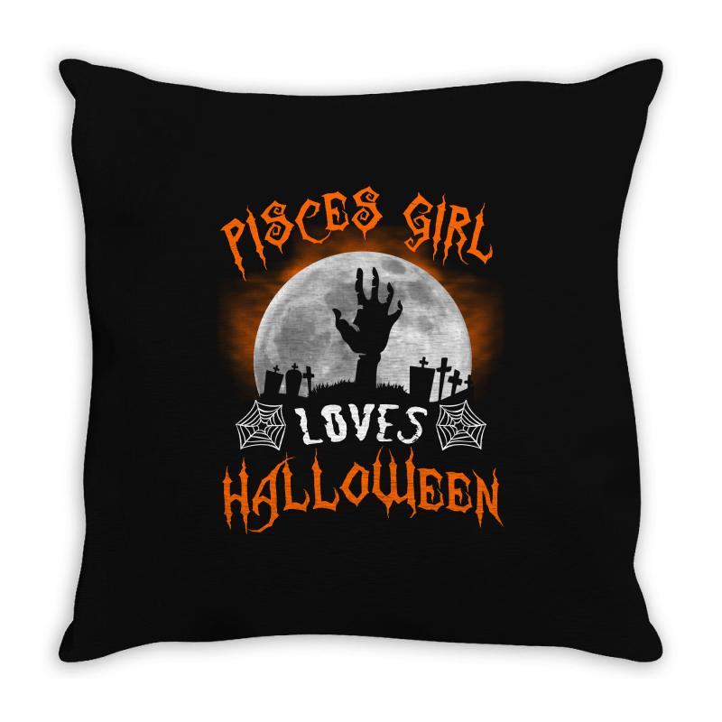 This Pisces Girl Loves Halloween Throw Pillow | Artistshot