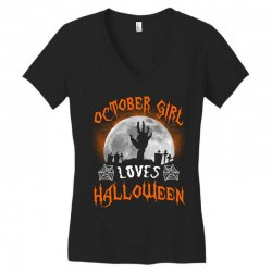 this october girl loves halloween Women's V-Neck T-Shirt | Artistshot