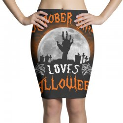 this october girl loves halloween Pencil Skirts | Artistshot