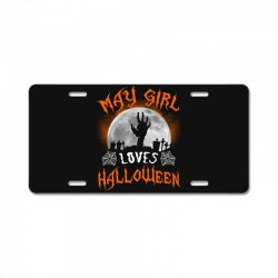 this may girl loves halloween License Plate | Artistshot