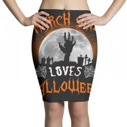 this march girl loves halloween Pencil Skirts | Artistshot