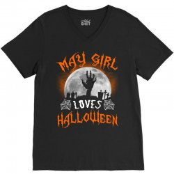 this may girl loves halloween V-Neck Tee | Artistshot