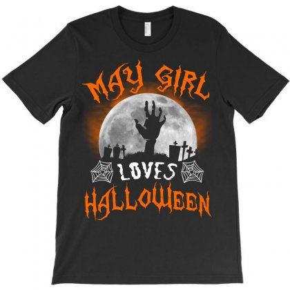 This May Girl Loves Halloween T-shirt Designed By Twinklered.com