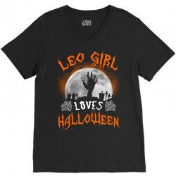 this leo girl loves halloween V-Neck Tee | Artistshot