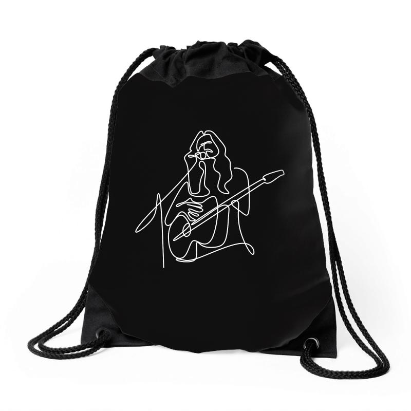 Rock Musician One Line Illustration Drawstring Bags | Artistshot
