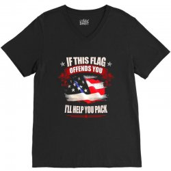 if this flag offends you i'll help you pack V-Neck Tee | Artistshot