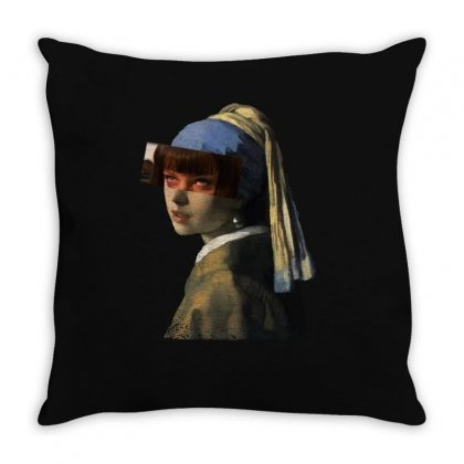 Mia With Pearl Earrings Throw Pillow Designed By Hasret