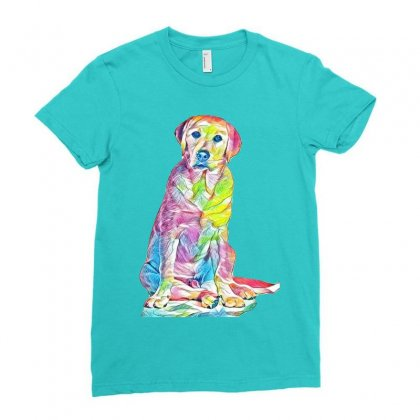 Labrador Retriever Fond Blanc Ladies Fitted T-shirt Designed By Kemnabi