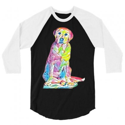 Labrador Retriever Fond Blanc 3/4 Sleeve Shirt Designed By Kemnabi